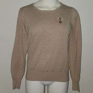 Matilda by True Love Tan Sweater Rhinestones Small